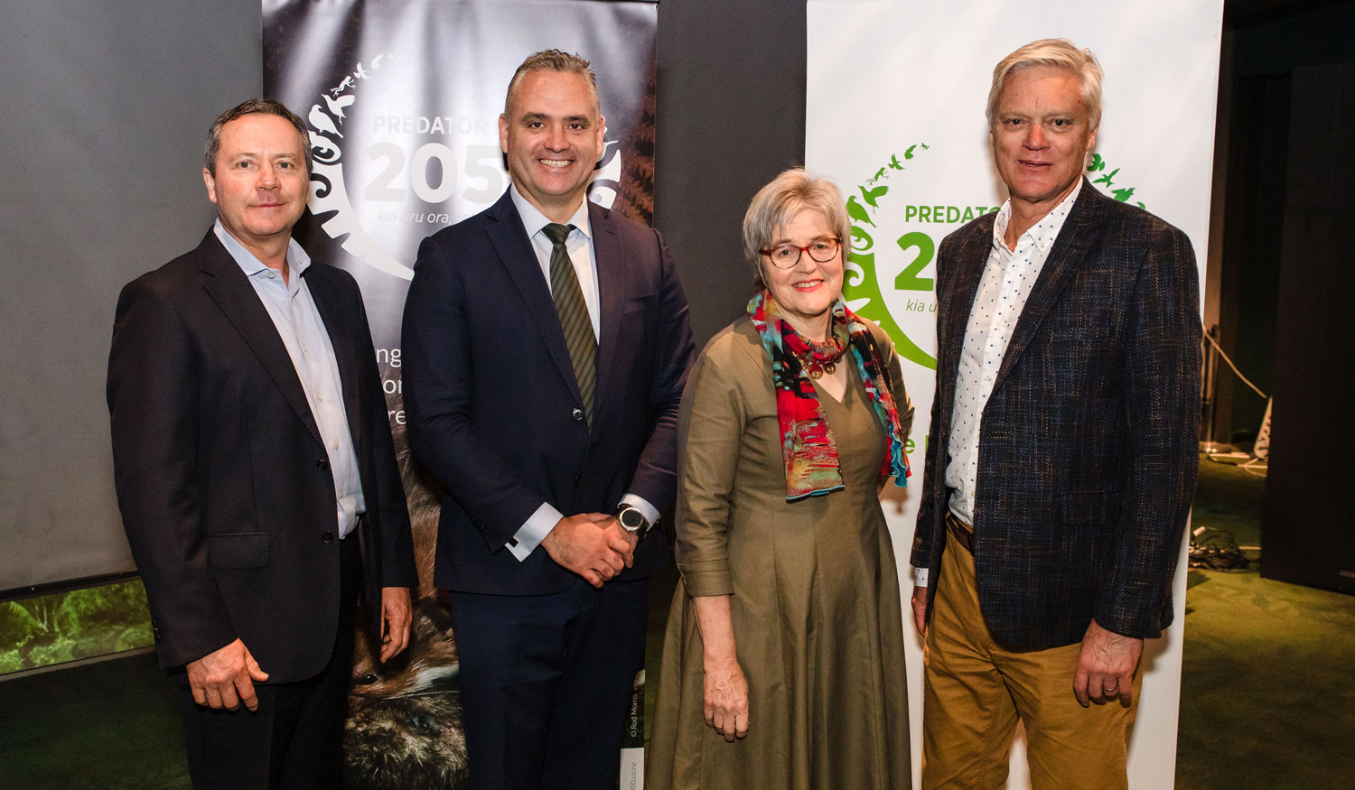 (L-R) Ed Chignell: CEO Predator Free 2050, Fletcher Tabuteau: Parliamentary Under-Secretary Regional Economic Development, Hon Eugenie Sage: Minister for Conservation, Mark Binns: Chairman Hammerforce